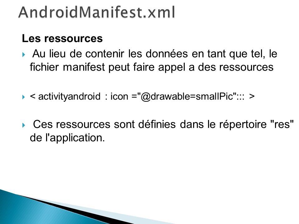 AndroidManifest.xml Les ressources