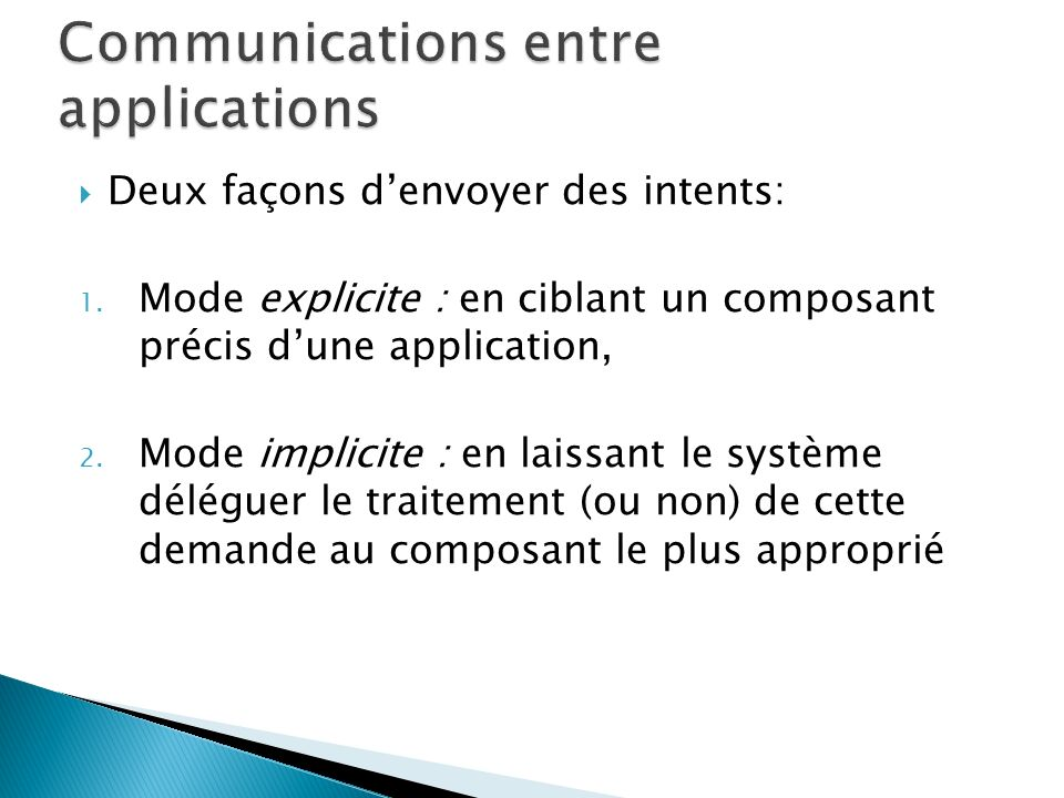 Communications entre applications