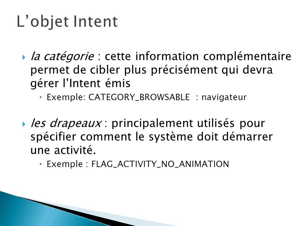 L'objet Intent la catégorie : cette information complémentaire permet de cibler plus précisément qui devra gérer l'Intent émis.