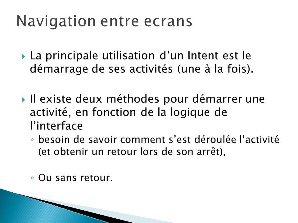 Navigation entre ecrans
