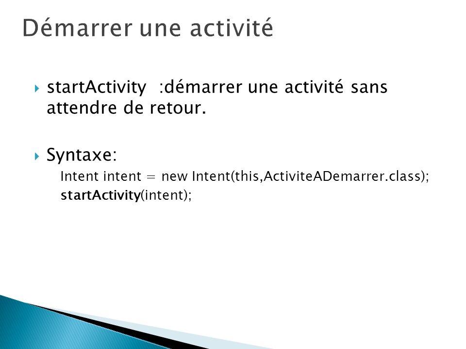 Démarrer une activité startActivity :démarrer une activité sans attendre de retour. Syntaxe: