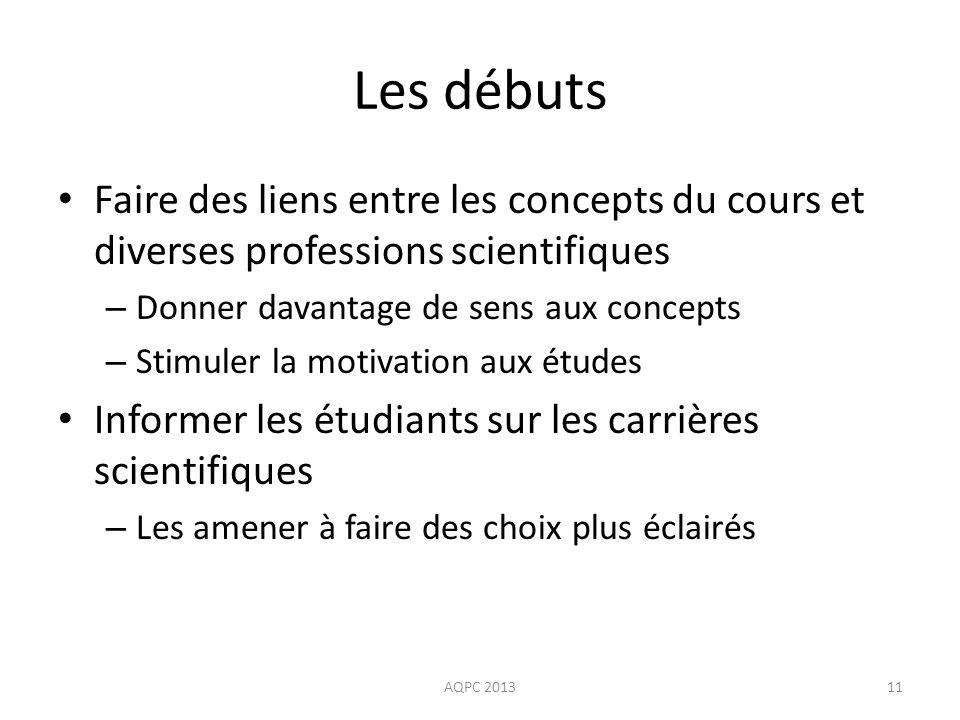 Les débuts Faire des liens entre les concepts du cours et diverses professions scientifiques. Donner davantage de sens aux concepts.