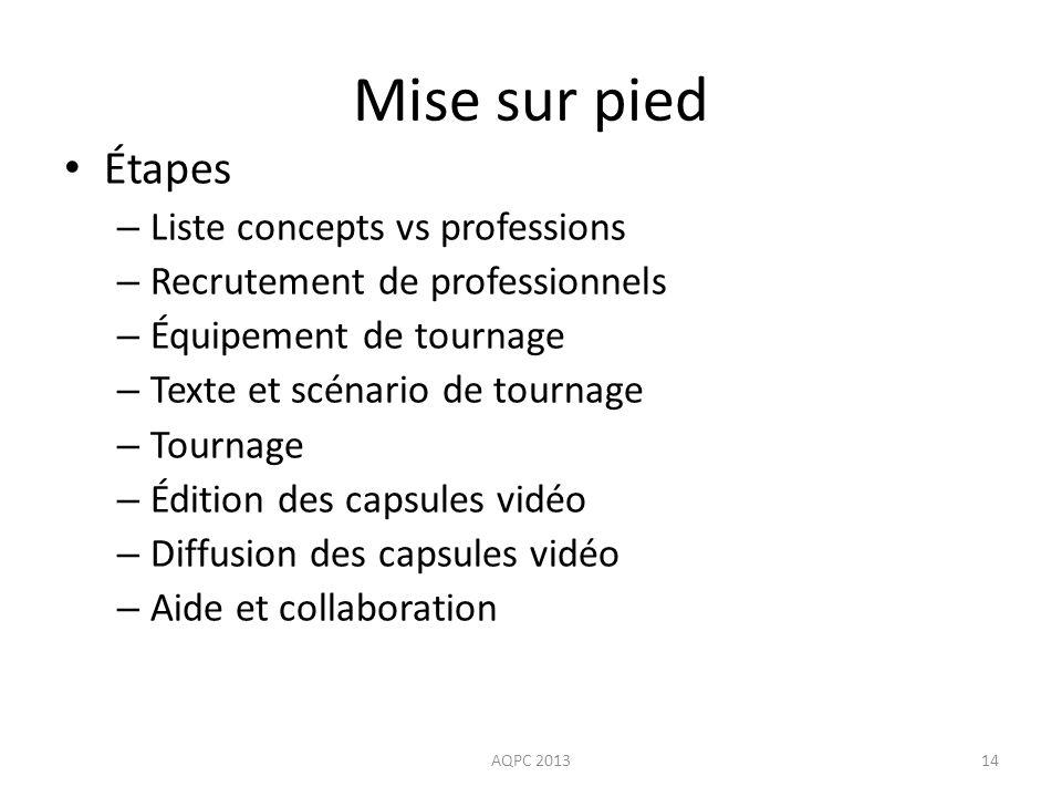 Mise sur pied Étapes Liste concepts vs professions