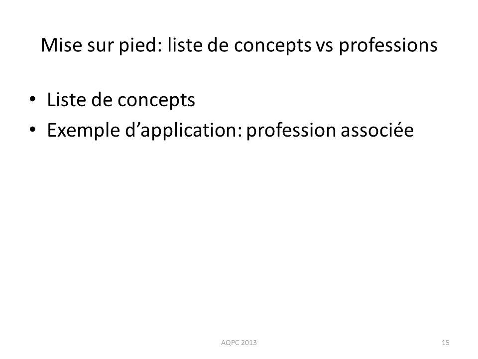 Mise sur pied: liste de concepts vs professions