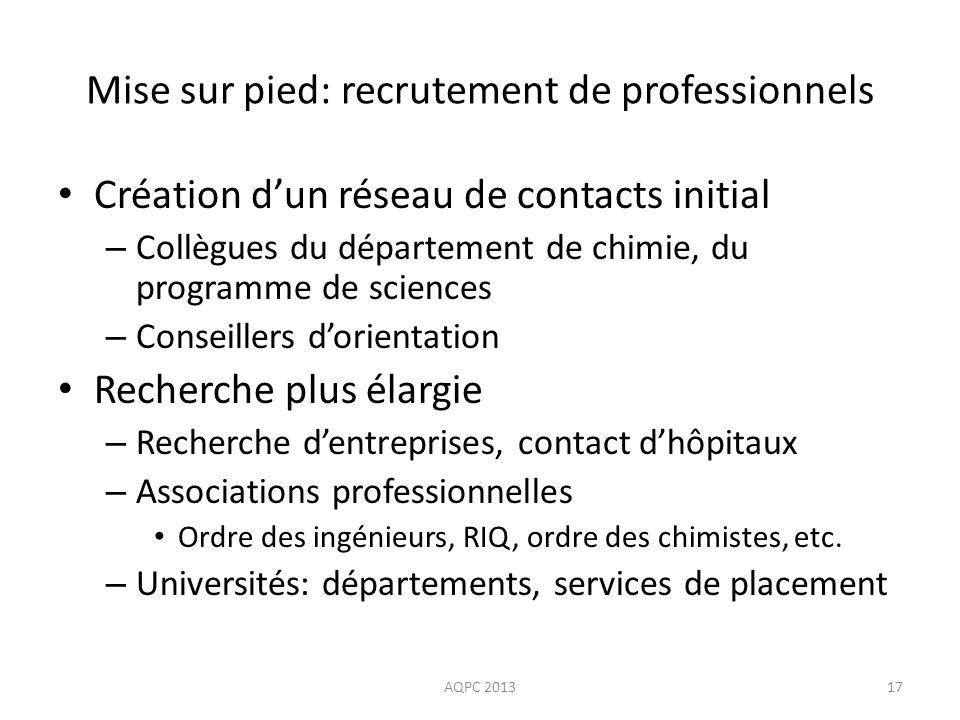 Mise sur pied: recrutement de professionnels