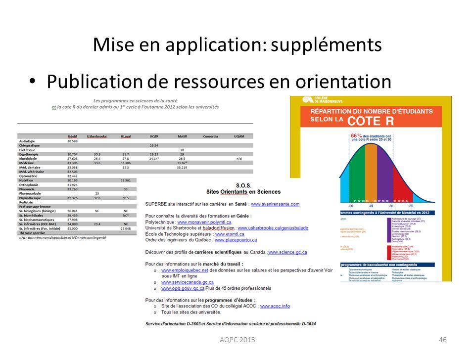 Mise en application: suppléments