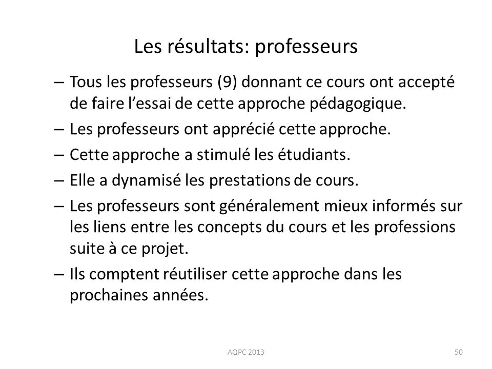 Les résultats: professeurs