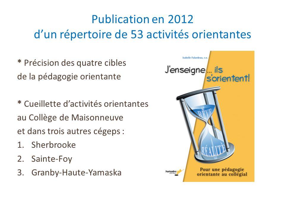 Publication en 2012 d'un répertoire de 53 activités orientantes