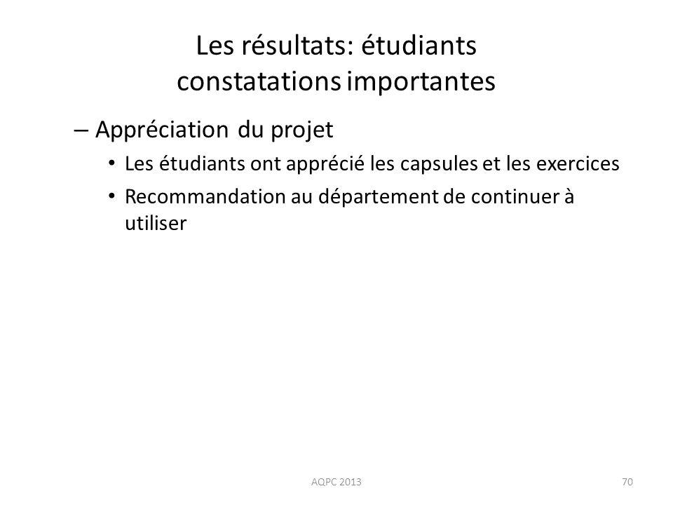 Les résultats: étudiants constatations importantes