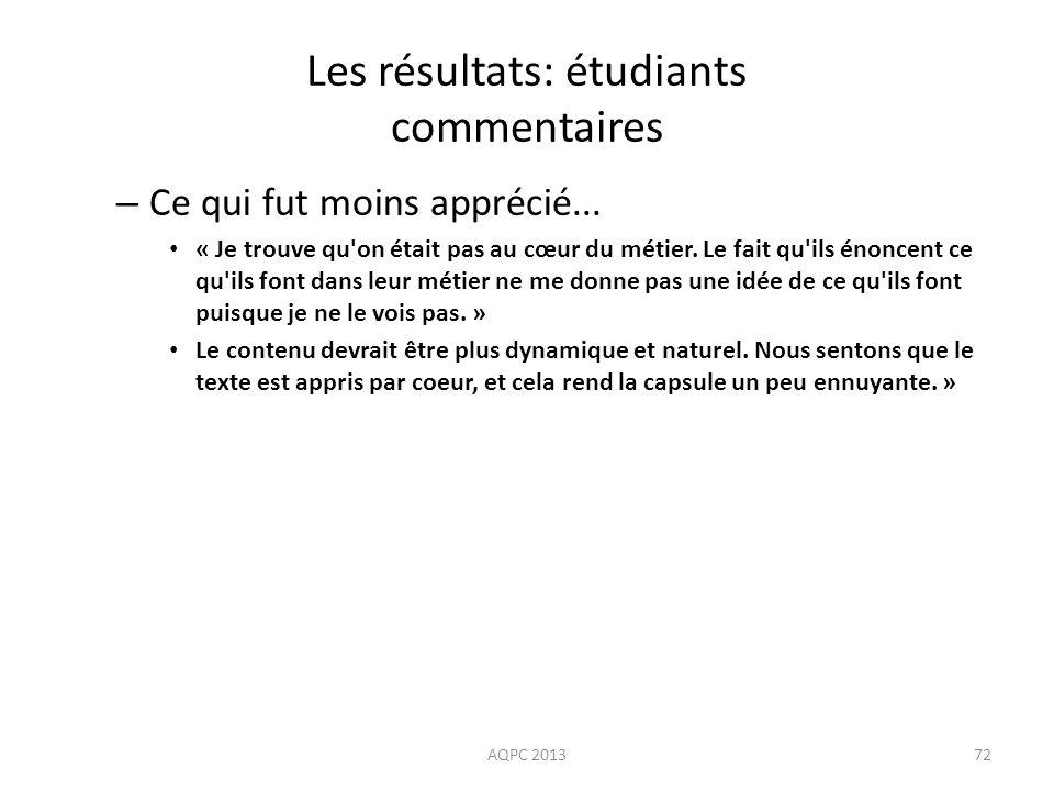 Les résultats: étudiants commentaires