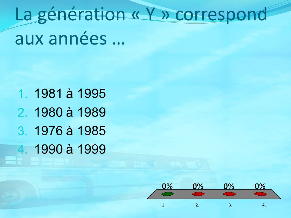 La génération « Y » correspond aux années …