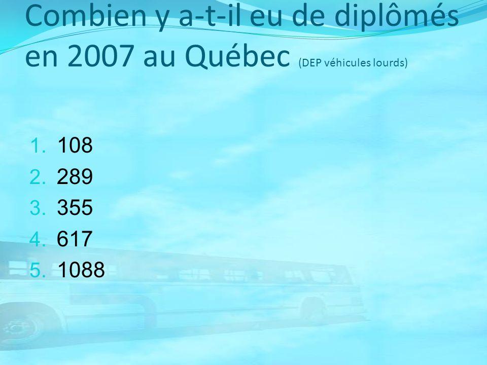 Combien y a-t-il eu de diplômés en 2007 au Québec (DEP véhicules lourds)