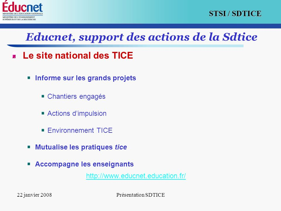 Educnet, support des actions de la Sdtice