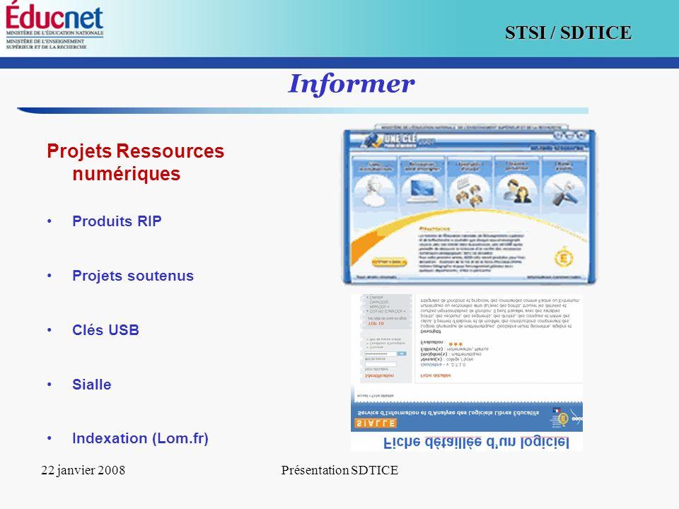 Informer Projets Ressources numériques Produits RIP Projets soutenus