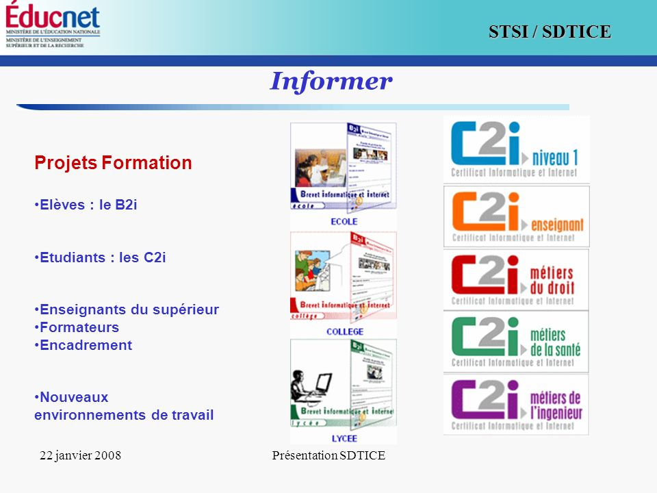 Informer Projets Formation Elèves : le B2i Etudiants : les C2i