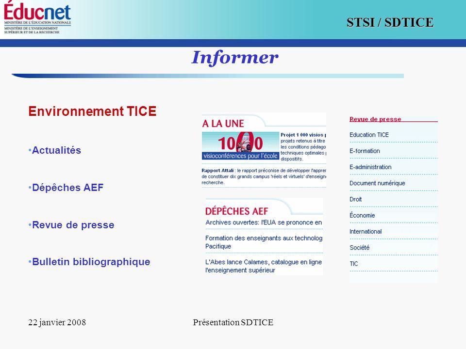 Informer Environnement TICE Actualités Dépêches AEF Revue de presse