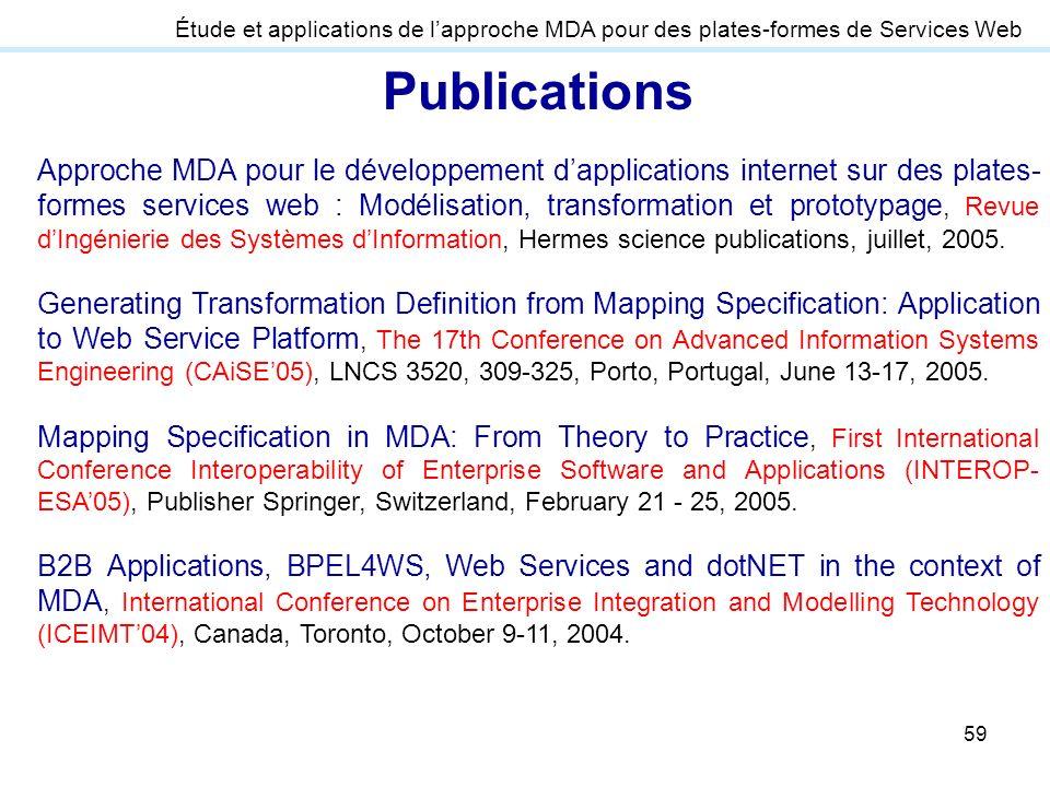 Étude et applications de l'approche MDA pour des plates-formes de Services Web