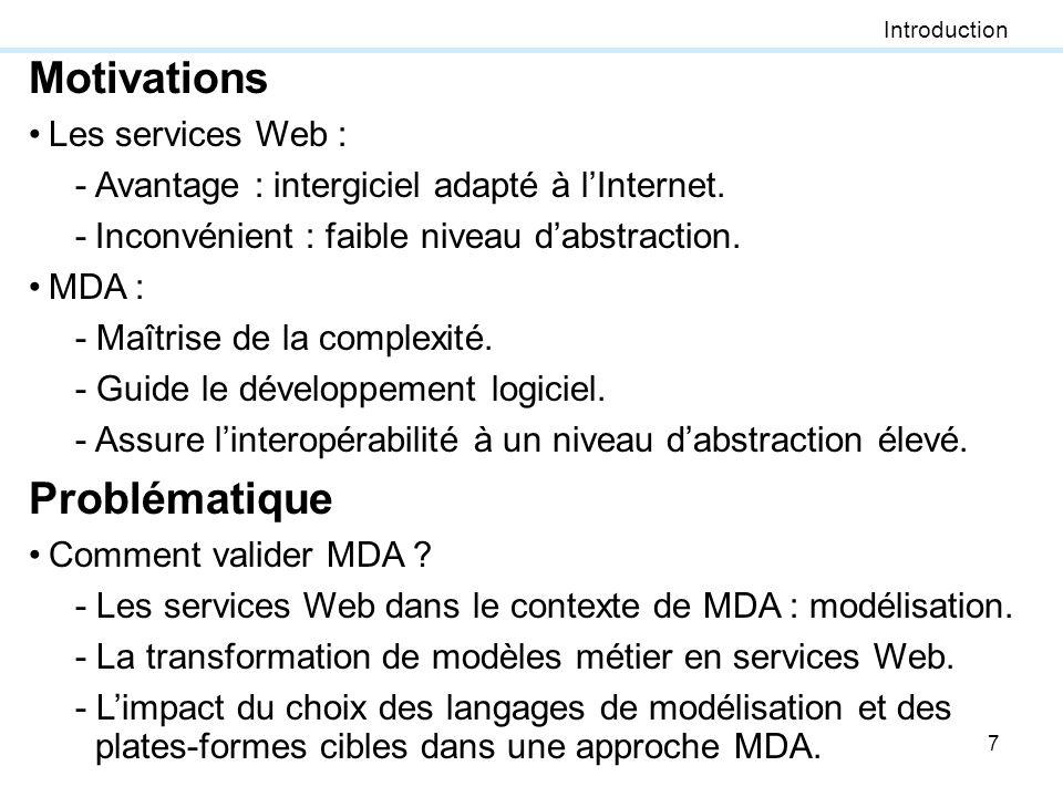Motivations Problématique Les services Web :