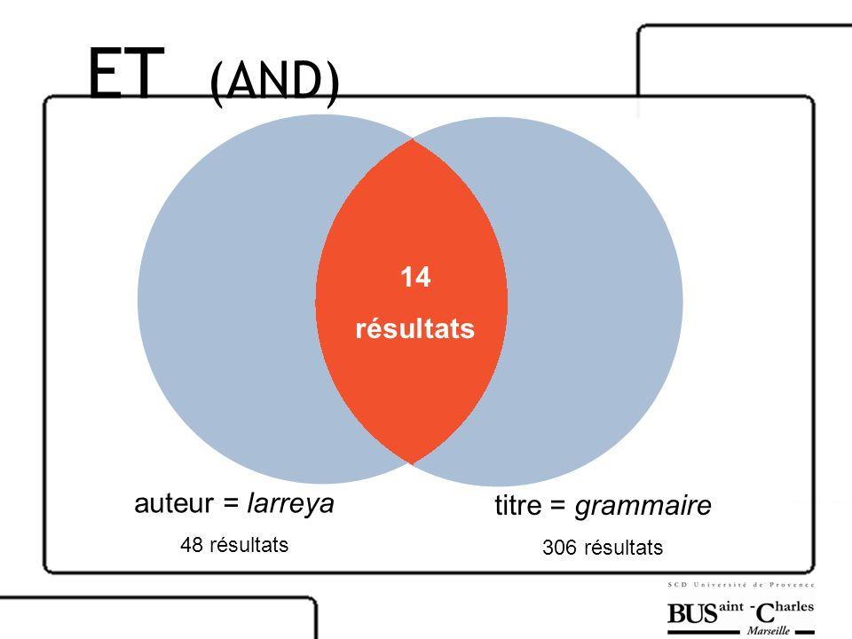 ET (AND) 14 résultats auteur = larreya titre = grammaire 48 résultats