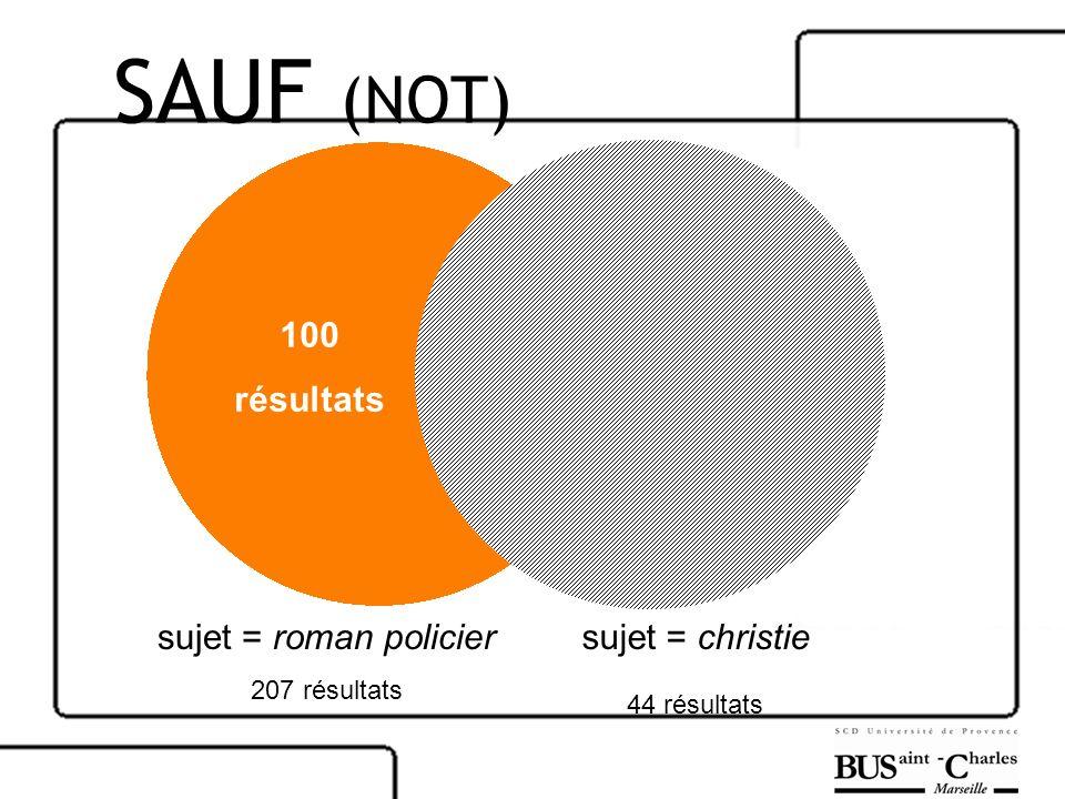 SAUF (NOT) 100 résultats sujet = roman policier sujet = christie