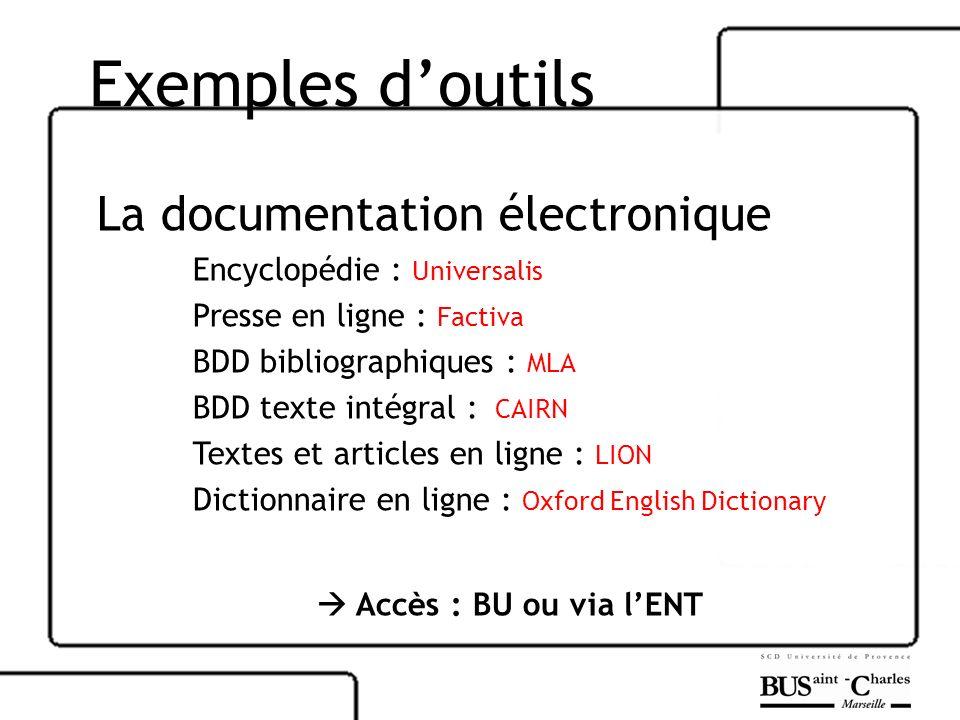 Exemples d'outils La documentation électronique