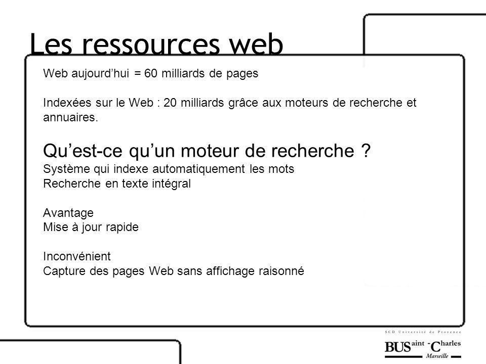 Les ressources web Qu'est-ce qu'un moteur de recherche