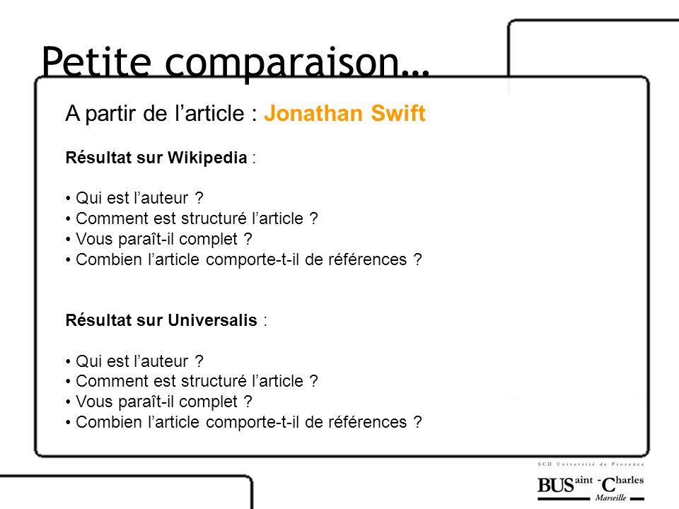 Petite comparaison… A partir de l'article : Jonathan Swift