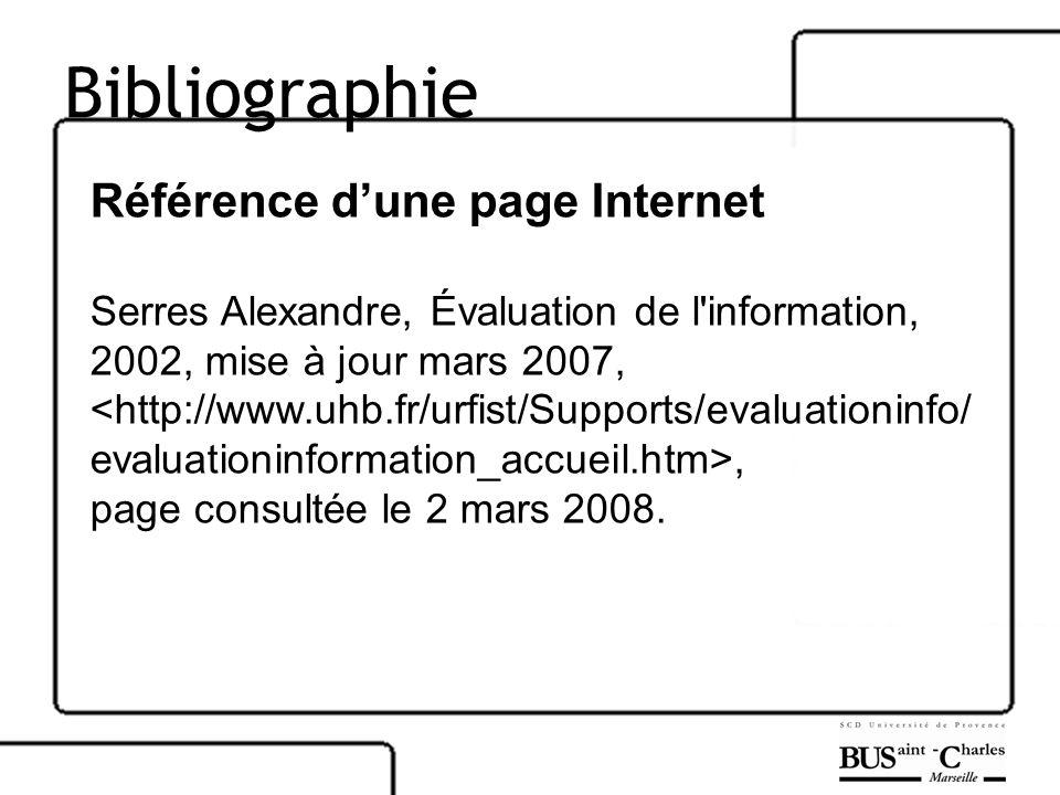Bibliographie Référence d'une page Internet