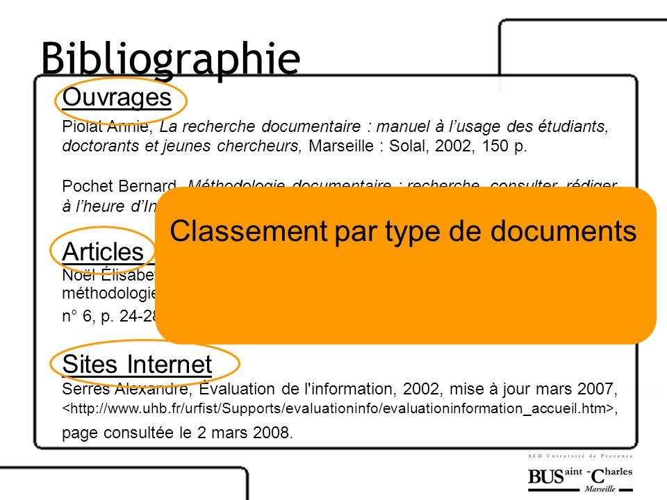 Bibliographie Classement par type de documents