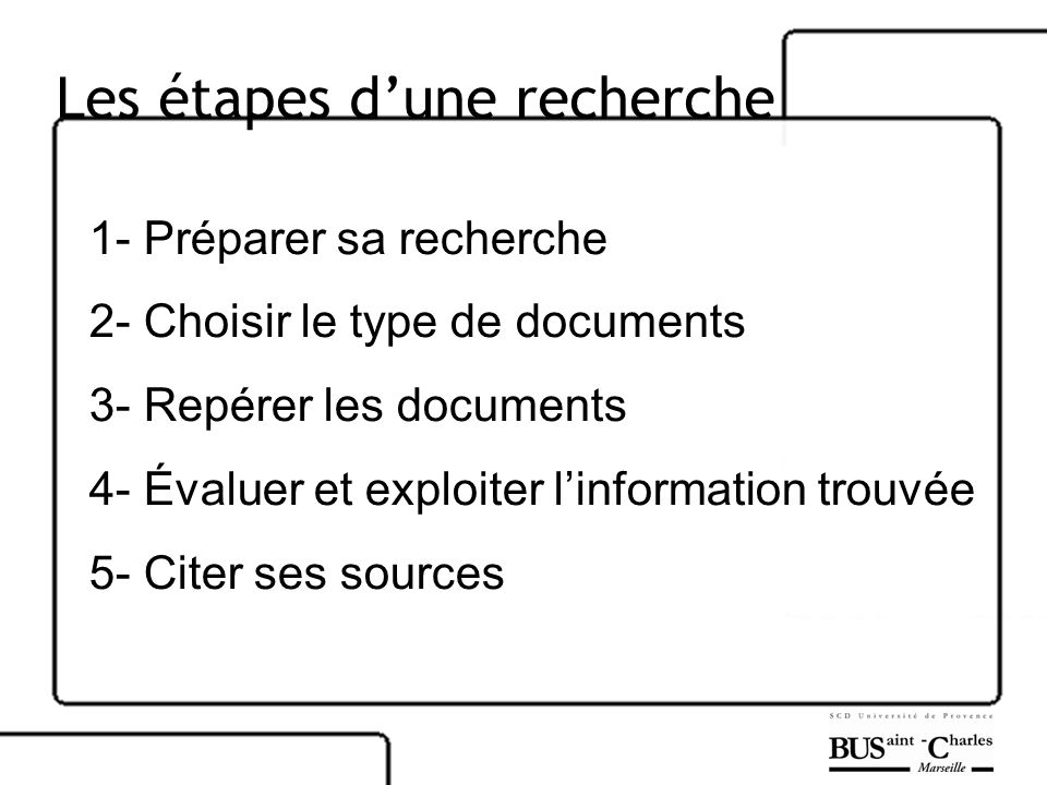 Les étapes d'une recherche