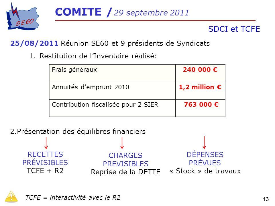 SDCI et TCFE 25/08/2011 Réunion SE60 et 9 présidents de Syndicats