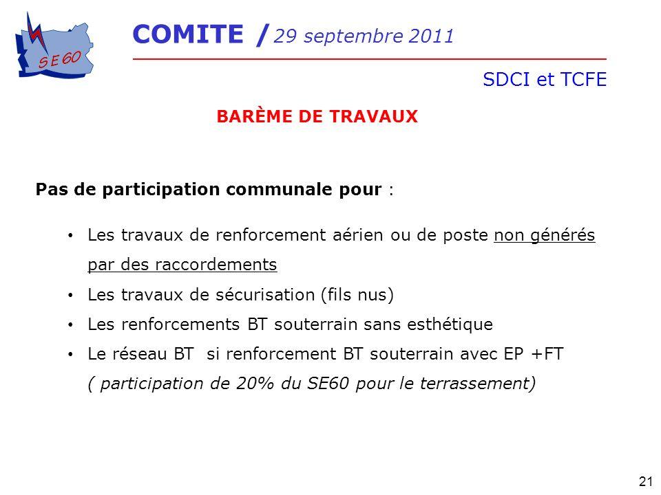 SDCI et TCFE BARÈME DE TRAVAUX Pas de participation communale pour :