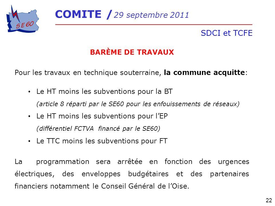 SDCI et TCFE BARÈME DE TRAVAUX