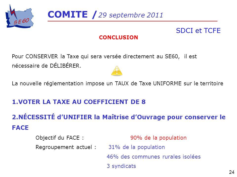 SDCI et TCFE VOTER LA TAXE AU COEFFICIENT DE 8