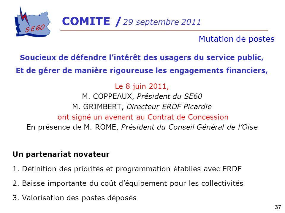 COMITE / 29 septembre 2011Mutation de postes. Soucieux de défendre l'intérêt des usagers du service public,