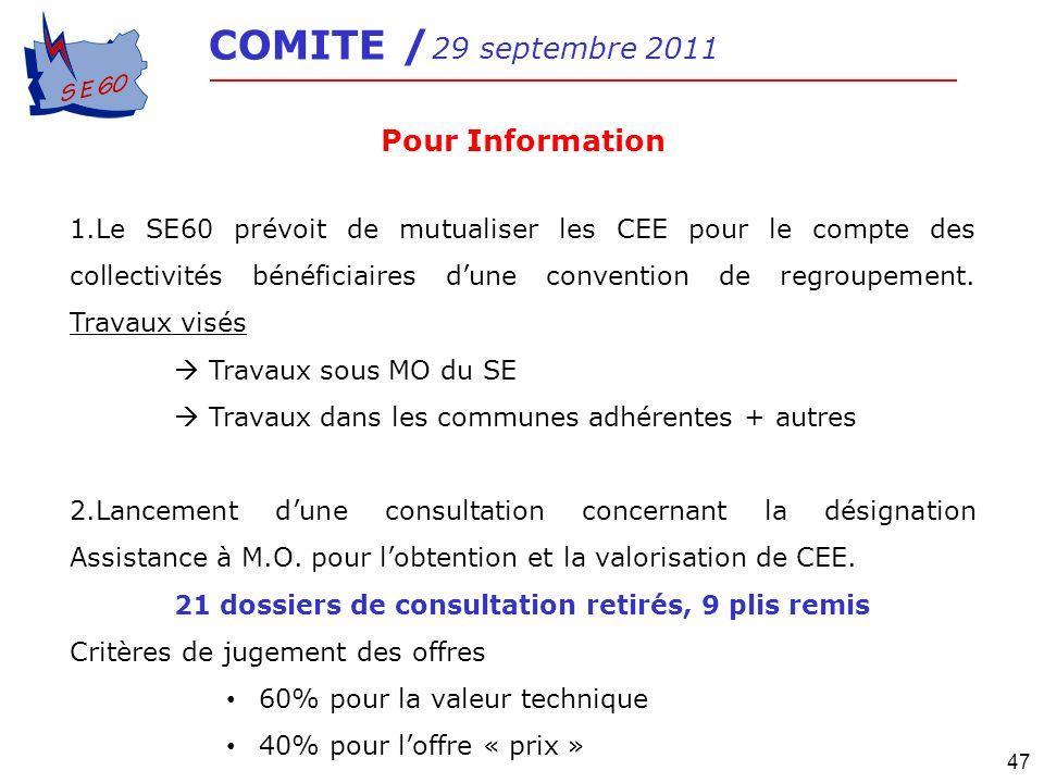 COMITE / 29 septembre 2011 Pour Information.