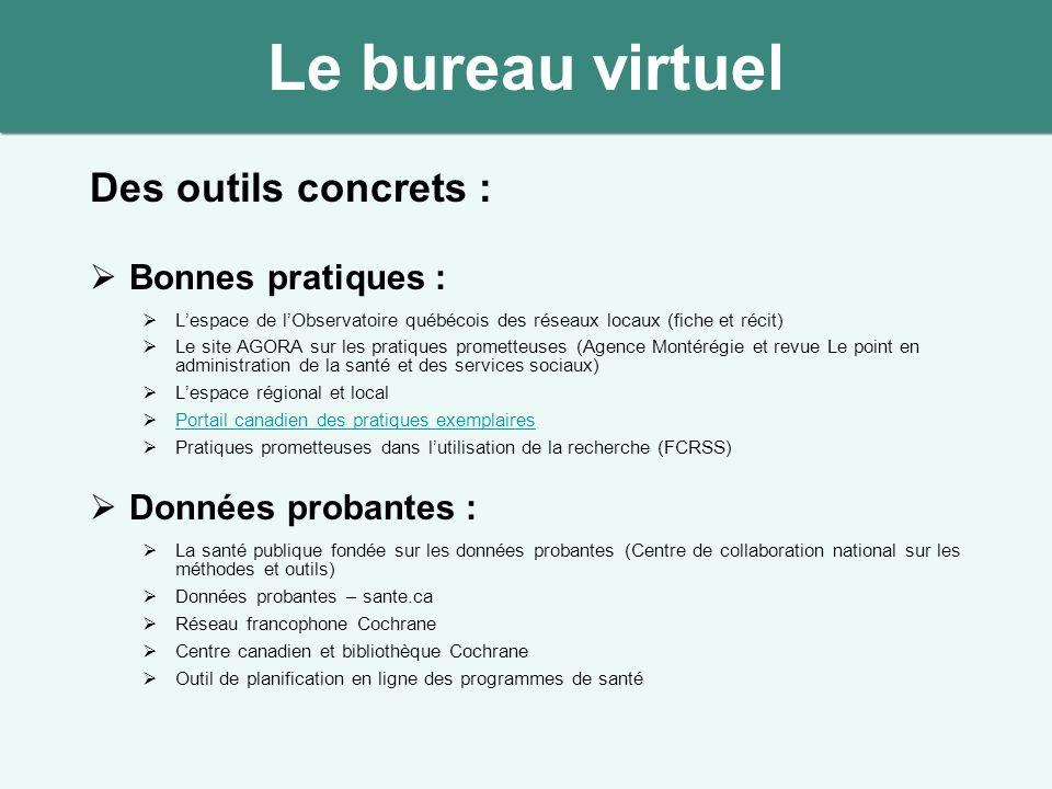 Le bureau virtuel Des outils concrets : Bonnes pratiques :