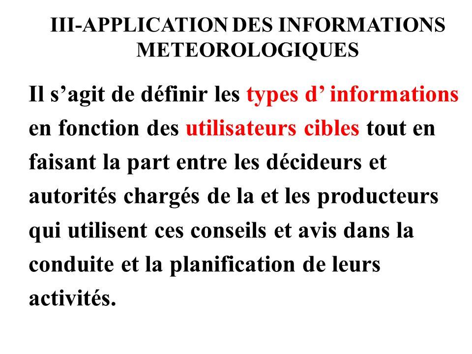 III-APPLICATION DES INFORMATIONS METEOROLOGIQUES