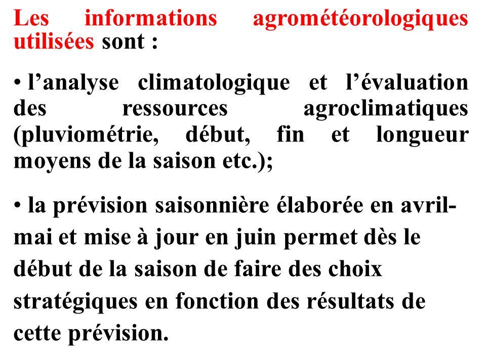 Les informations agrométéorologiques utilisées sont :