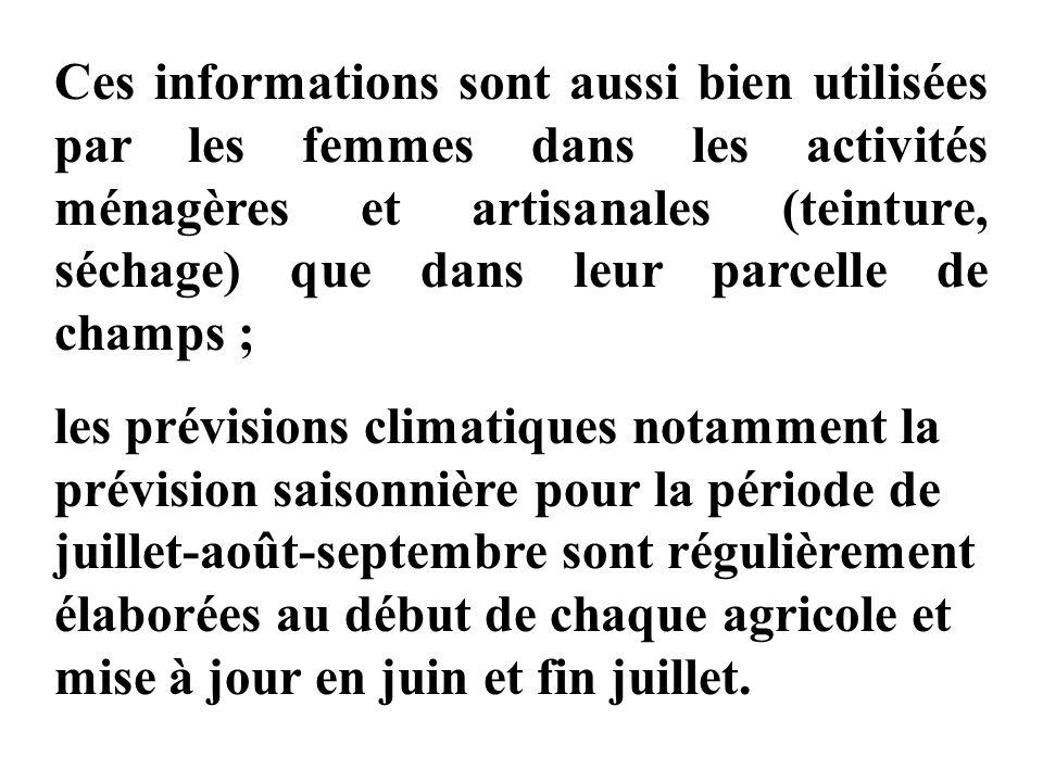 Ces informations sont aussi bien utilisées par les femmes dans les activités ménagères et artisanales (teinture, séchage) que dans leur parcelle de champs ;