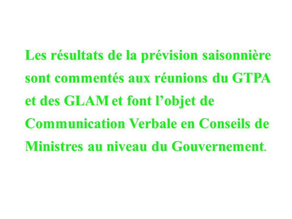 Les résultats de la prévision saisonnière sont commentés aux réunions du GTPA et des GLAM et font l'objet de Communication Verbale en Conseils de Ministres au niveau du Gouvernement.