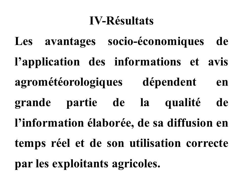 IV-Résultats Les avantages socio-économiques de l'application des informations et avis agrométéorologiques dépendent en grande partie de la qualité de l'information élaborée, de sa diffusion en temps réel et de son utilisation correcte par les exploitants agricoles.