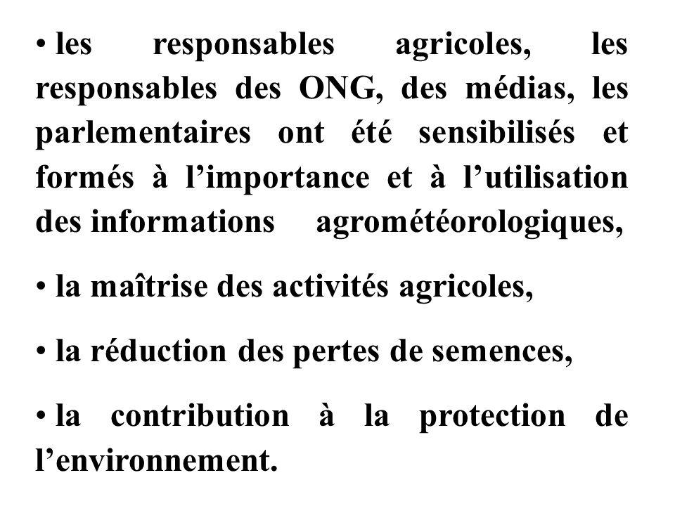 les responsables agricoles, les responsables des ONG, des médias, les parlementaires ont été sensibilisés et formés à l'importance et à l'utilisation des informations agrométéorologiques,