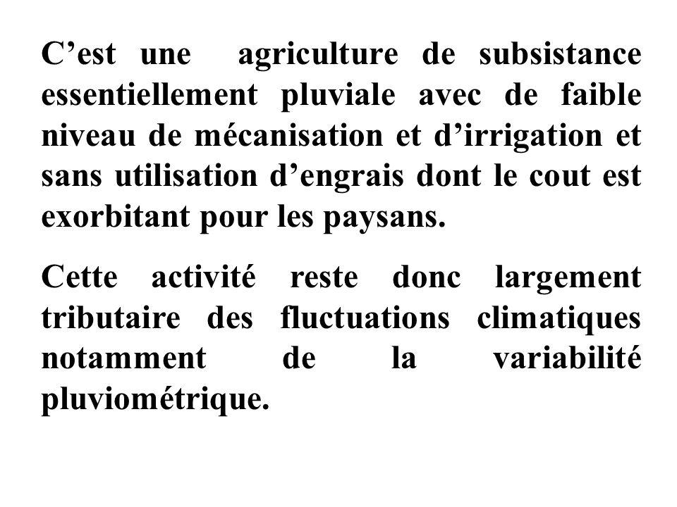 C'est une agriculture de subsistance essentiellement pluviale avec de faible niveau de mécanisation et d'irrigation et sans utilisation d'engrais dont le cout est exorbitant pour les paysans.