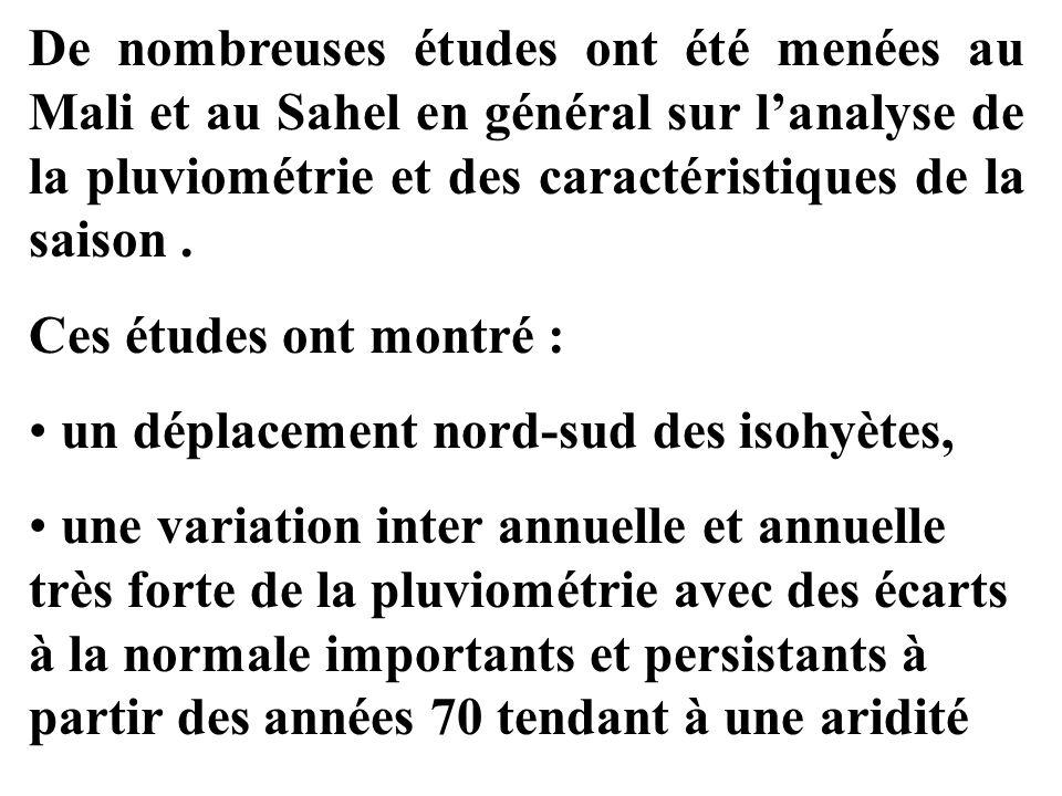 De nombreuses études ont été menées au Mali et au Sahel en général sur l'analyse de la pluviométrie et des caractéristiques de la saison .