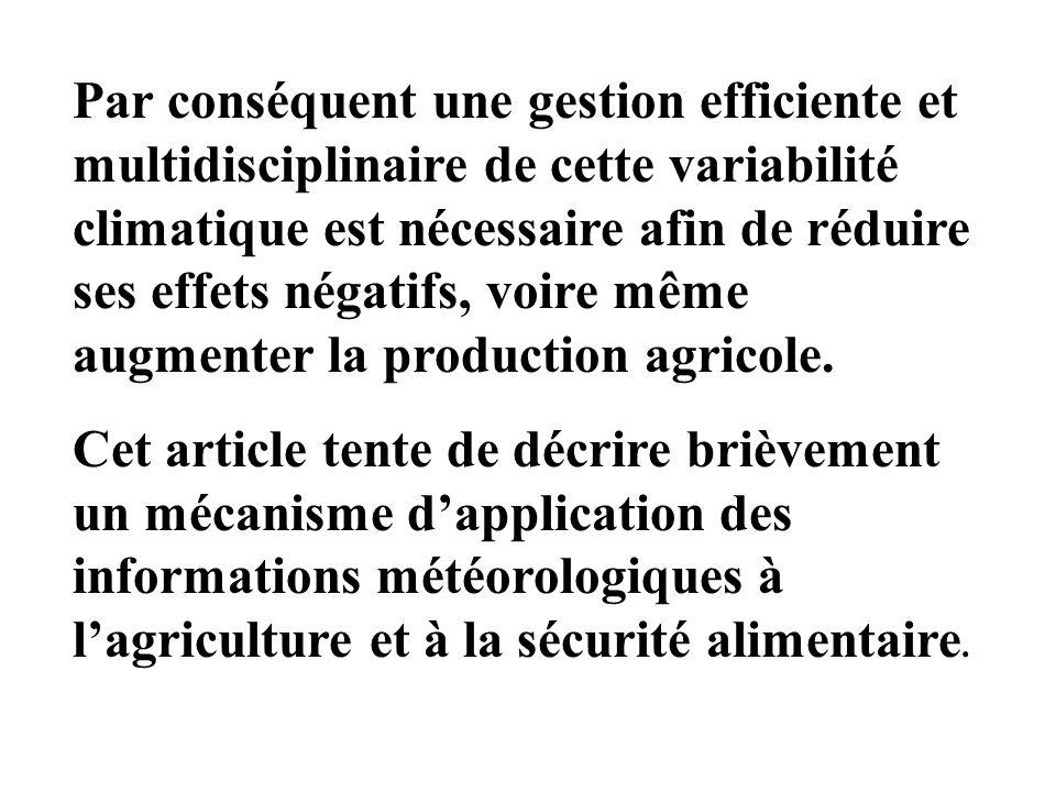 Par conséquent une gestion efficiente et multidisciplinaire de cette variabilité climatique est nécessaire afin de réduire ses effets négatifs, voire même augmenter la production agricole.