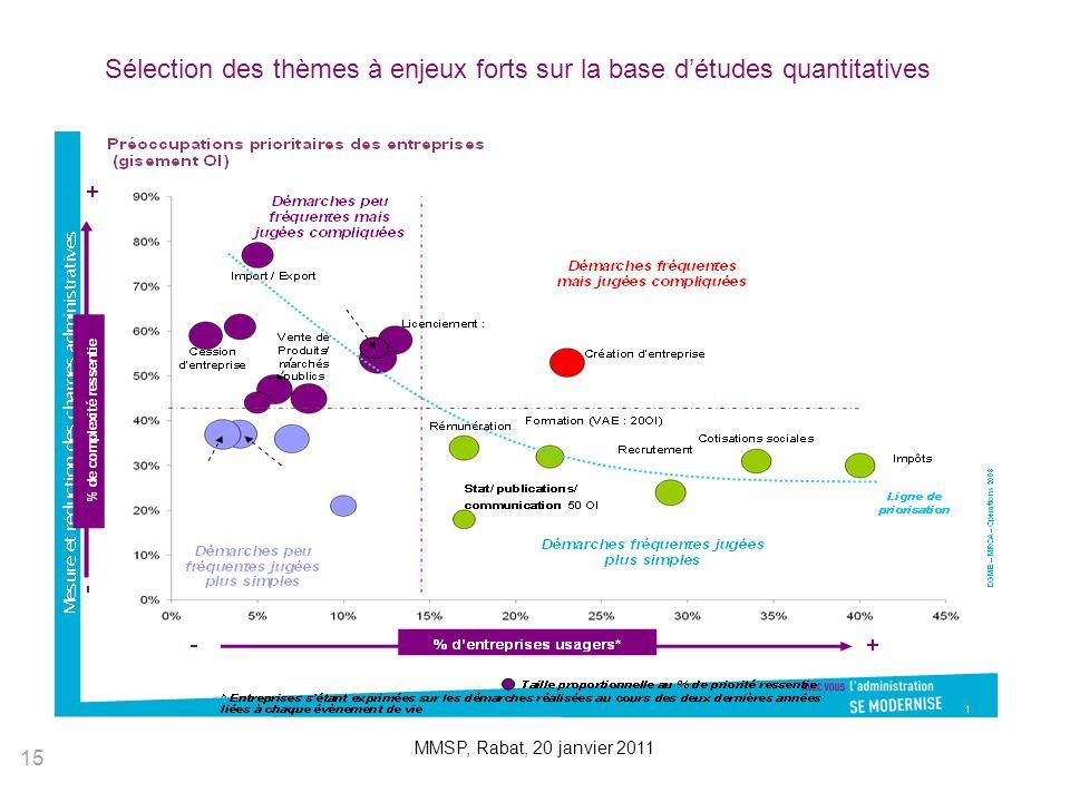 Sélection des thèmes à enjeux forts sur la base d'études quantitatives