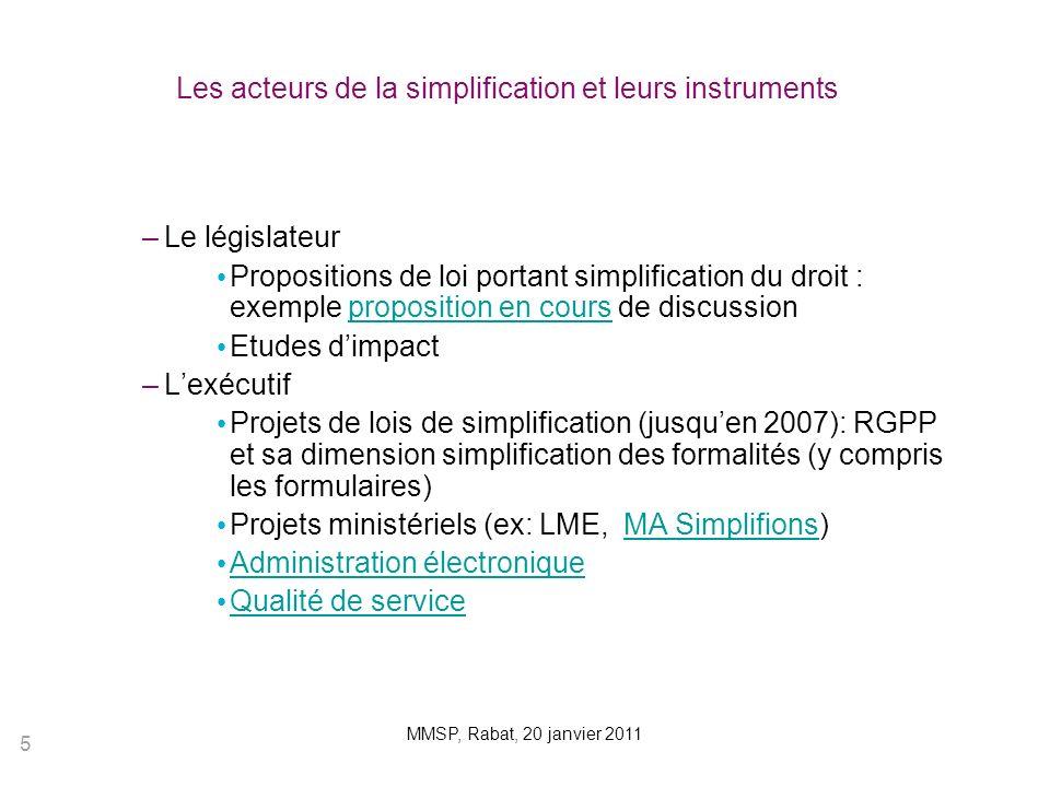 Les acteurs de la simplification et leurs instruments