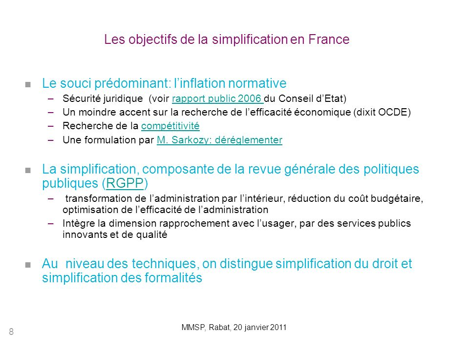 Les objectifs de la simplification en France