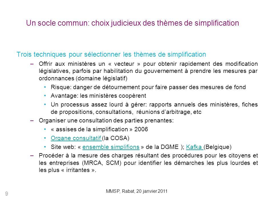 Un socle commun: choix judicieux des thèmes de simplification